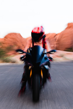 Model and her motorcycle photography portrait
