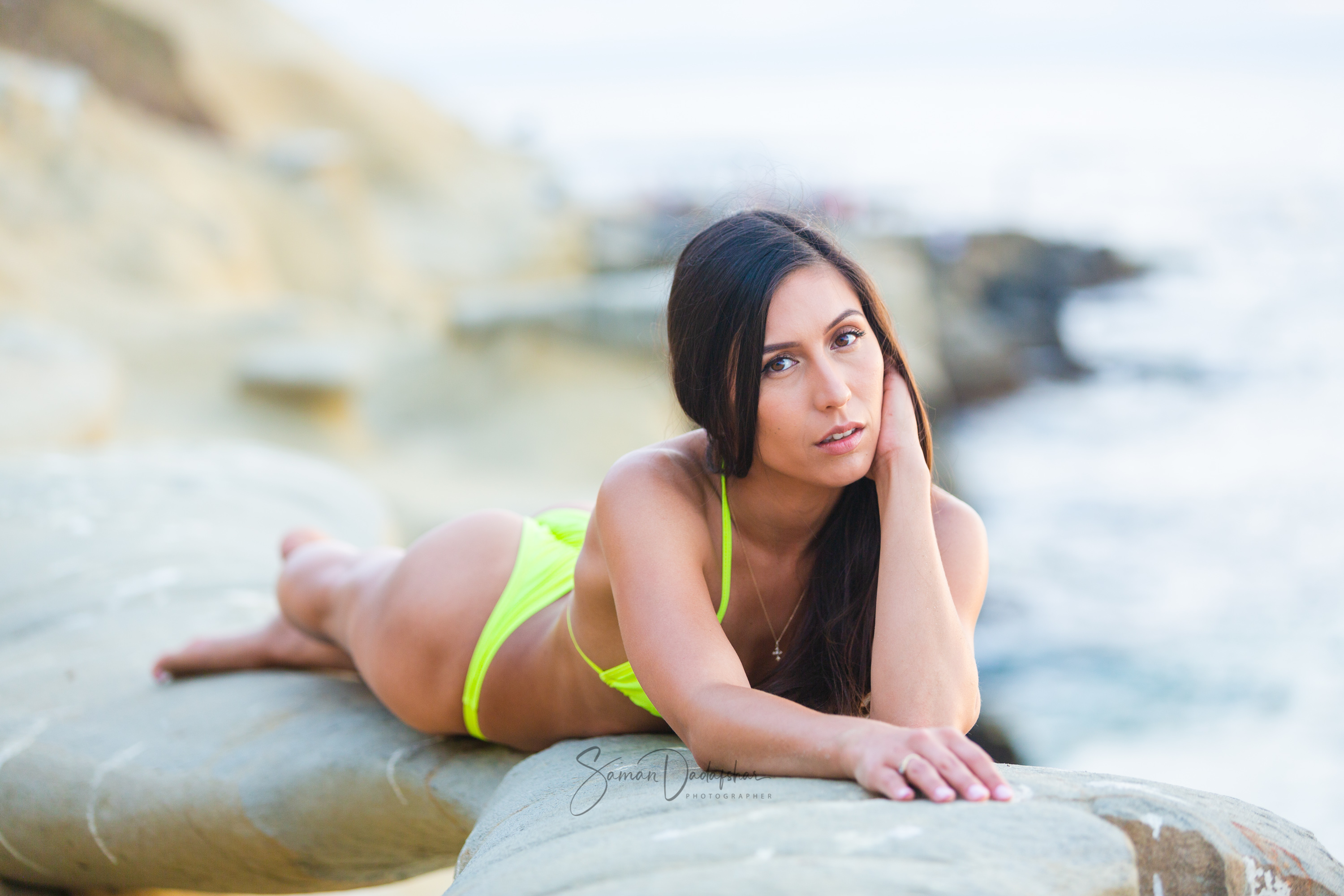 bikini model portrait on the beach