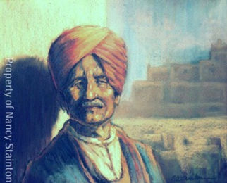 Long Ago, Far Away. This is a painting of an Eastern Indian man, a Sikh who is longing for his family and friends in India. It is nostalgic and reminiscent.