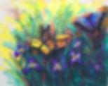 butterflies among the irises