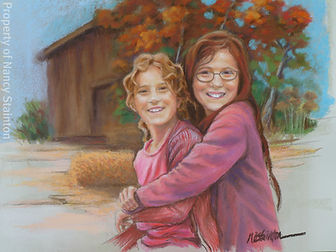 Image of the painting done from the photo of the girls. The scene is at a farm in the fall