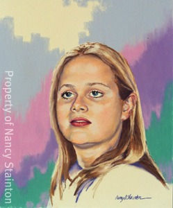 Painting from the photo of Chelsea. It has a multi colored abstract background