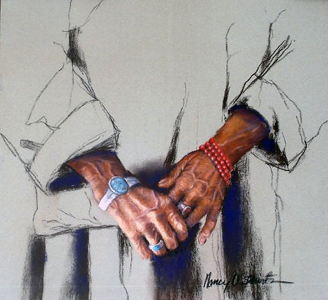 Tibetan Hands - image of a Tibetan monk's hands with rosary beads. He has been chanting sutras with the beads. He is also wearing turquoise, coral and silver Native American jewelry.
