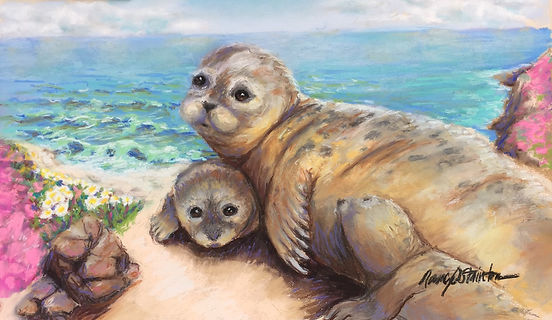 Harbor Seals - a mother and babies