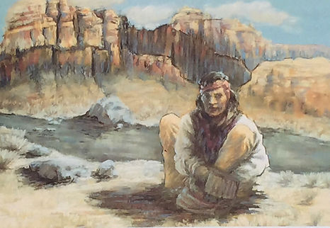 Apache Retreat - image of an Apache in the south west US. He is taking a break near the stream.