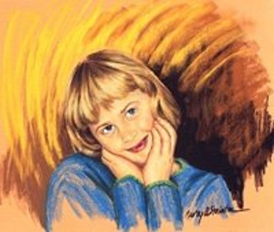 Painting from the photo of Rachel. It has a bright, flashing background which shows her fiery energy.