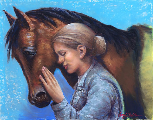 This painting is about PTSD healing with a horse. The soldier is sharing warmth and love with the horse.