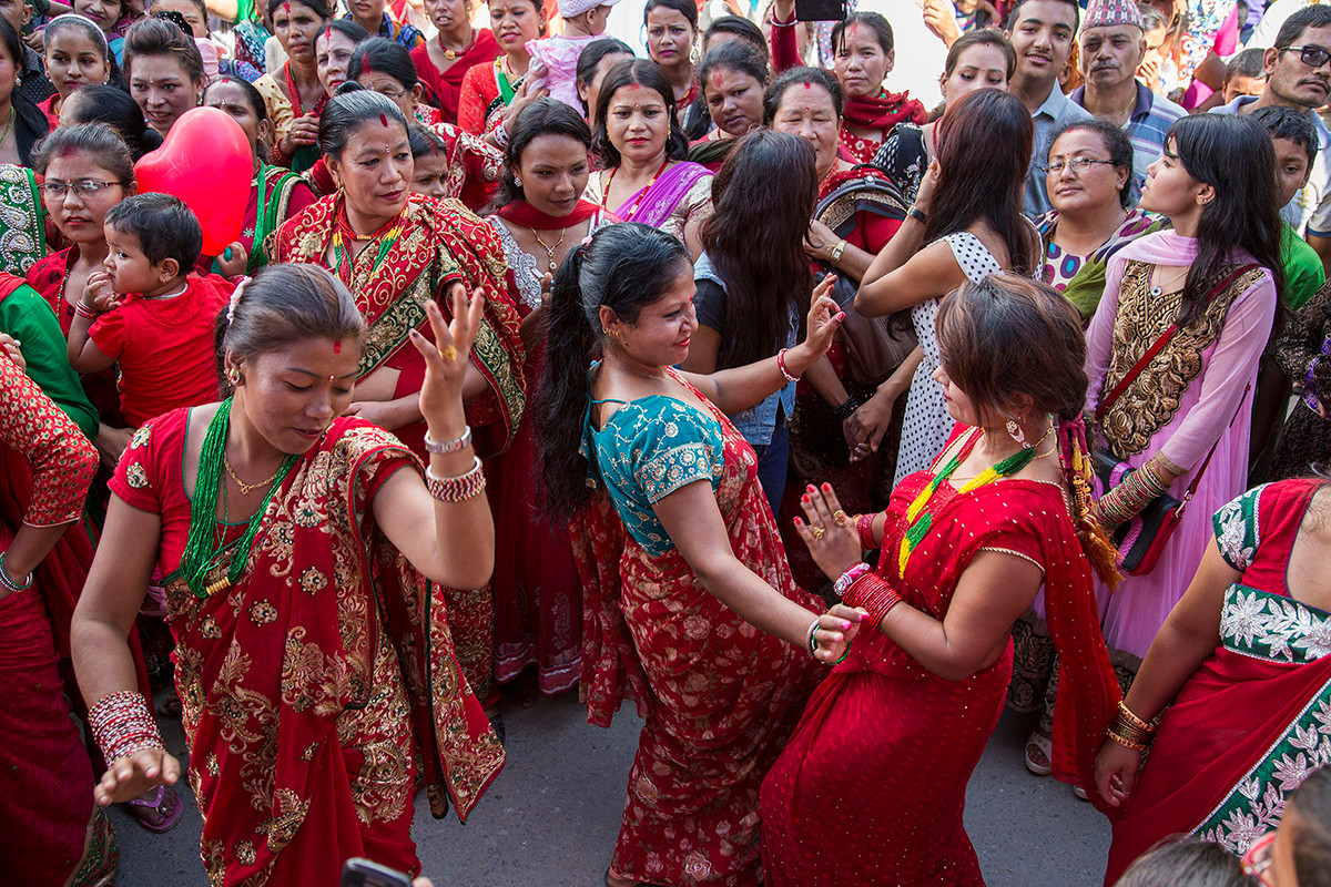 Women during Rishi Panchami celebrations in Kathmandu, Nepal, 2015.