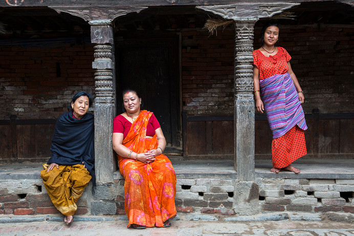 7-month pregnant Rita Anjakhia with her mother-in-law, Narain Devi Anjakhia, in Bhaktapur, Nepal, 2015. With them, in black shawl is another relative.