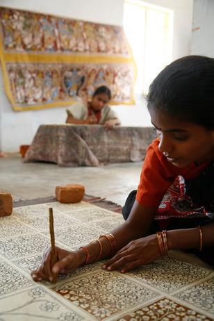 Artisans at work at Dwarka's centre for Kalamkari in Sri Kalahasti, Andhra Pradesh, India, 2006,