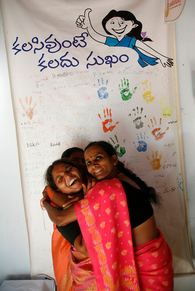 Female sex workers community members at a Drop-in-Centre in Mylavaram, Vijaywada district, Andhra Pradesh, India, 2007.