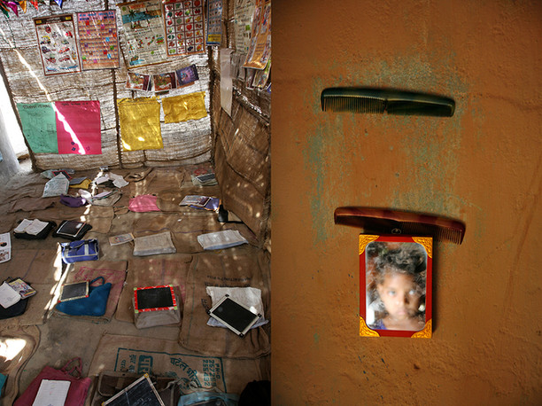 Kutch, Gujarat, 2005 & Beed, Maharshtra, 2006: Inside of a site school for children of salt-pan workers & A student combs her hair in a Seasonal Hostel supported by AIF.