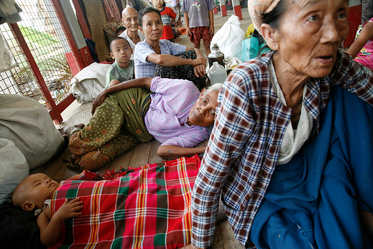 Refugees made homeless by Cyclone Nargis at a monastery in Kyaiklat town, on the road to Bogalay, in the Irrawaddy Division of Myanmar (Burma).