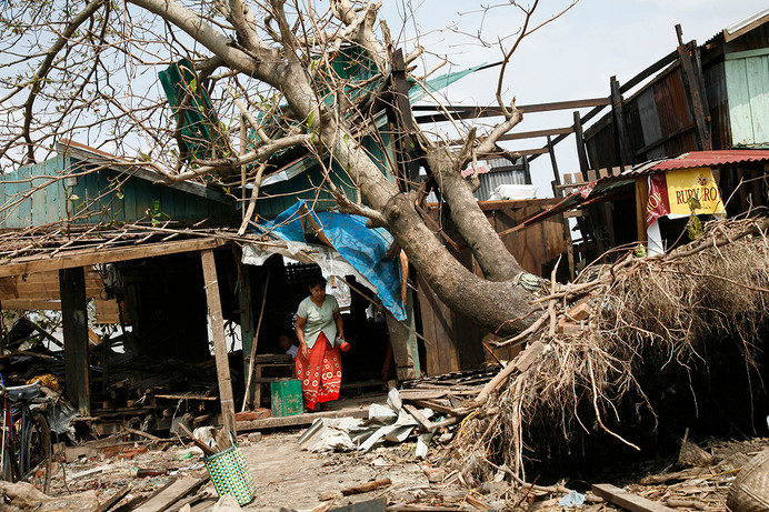 Damaged buildings in Bogalay devastated by Cyclone Nargis, in the Irrawaddy Division of Myanmar (Burma).