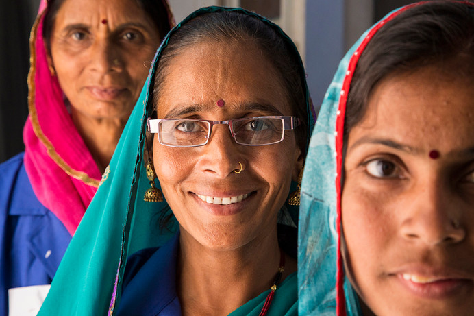 Asha workers (front to back) Shimla Taylor, Archana Tanwar and Indira Kanwar at the Marie Stopes India outreach clinic at the government primary health centre in Chandlai village, near Jaipur, Rajasthan, India, 2015.