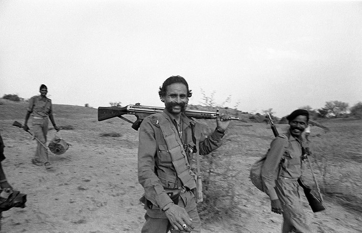 Malkhan Singh with his gang in the ravines, 1982.