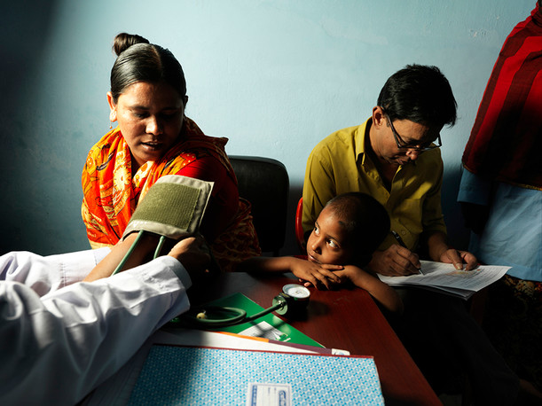 Beneficiary at a clinic in Bangladesh. Photograph by Peter Caton
