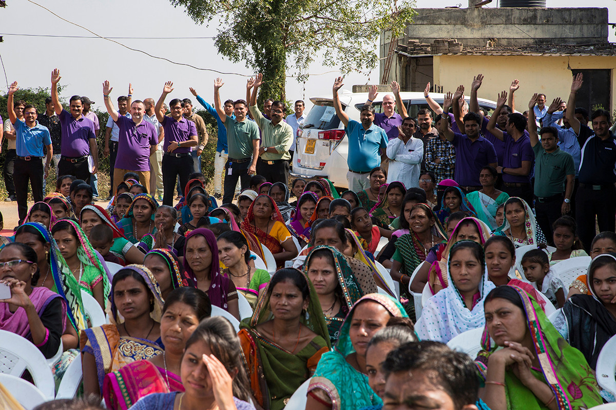Community members and Kohler staff during the inauguaration of toilets built for the community at Randedi village near Kohler's plants in Jhagadia, Gujarat, India, 2018.