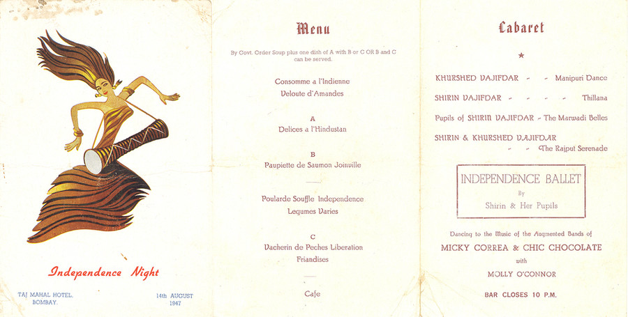 Card for Independence Night  dance and dinner at Taj Mahal Hotel, Bombay, 14 August 1947.