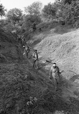 Malkhan Singh's gang on the move in the ravines, 1982.
