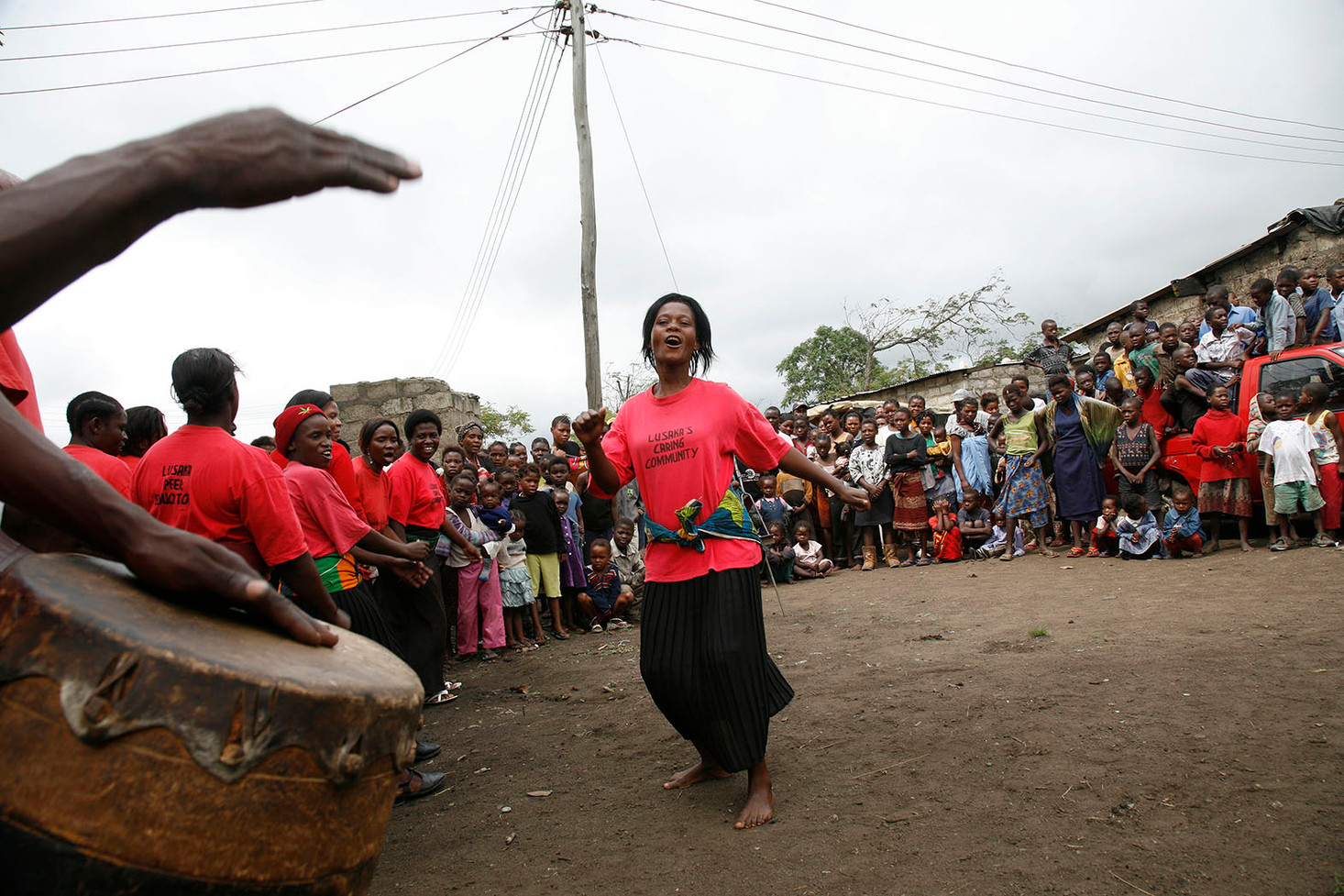A dance-drama by  Zambart volunteers during a TB camp in the Chibolya Compound in Lusaka, Zambia, 2007.
