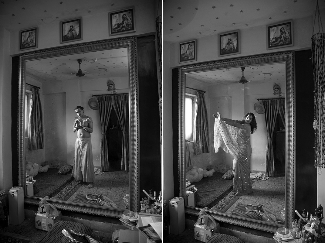Composite image of Laxmi, a Hijra (transgender) community leader, in her home in Thane, a suburb of Mumbai, 2008.