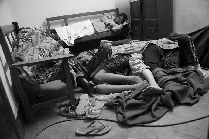 Women IDUs sleep in the SASA/Alliance DIC for Female IDUs in the North AOC locality of Imphal, Manipur, 2007. The locality is a hotspot for pushers, drug users and commercial sex workers.
