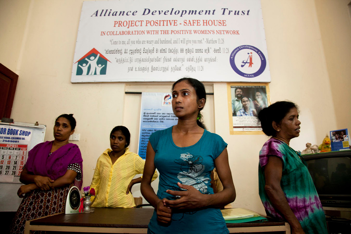 PLHIV beneficiaries at the Positive Women Network Drop-in-Centre which serves as a short stay and safe home for them in Colombo, Sri Lanka, 2012.