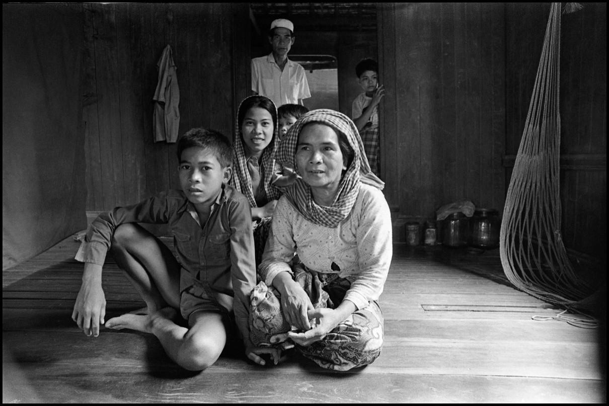 A Cham Muslim family in their home at Prek Pra village near Phnom Penh.
