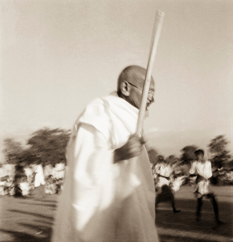 Noakhali, East Bengal, 1946: Mahatma Gandhi touring riot affected areas.