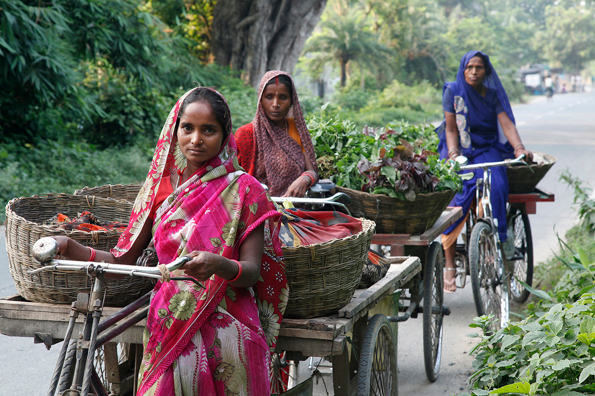 Women beneficiaries of Jeevan Jyoti Kala Kendra Rickshaw Sangh bring vegetables for sale from their village to Muzaffarpur, Bihar, India, 2013.