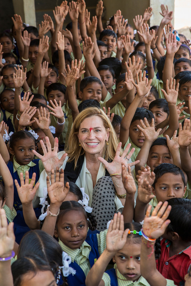 Laura Kohler during a ceremony to distribute schoolbags and uniforms, supported by Kohler, at a government school near Kohler's plants in Jhagadia, Gujarat, India, 2018.
