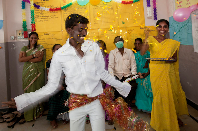 MSM community member and outreach worker Laxmipathi dances in the MSM DIC of HANDS promoted CBOs, Pragathi Mythri Mahila Sangam & Sai Mythri Sangam, at Guntakal, Anantpur district, Andhra Pradesh, India, 2011.