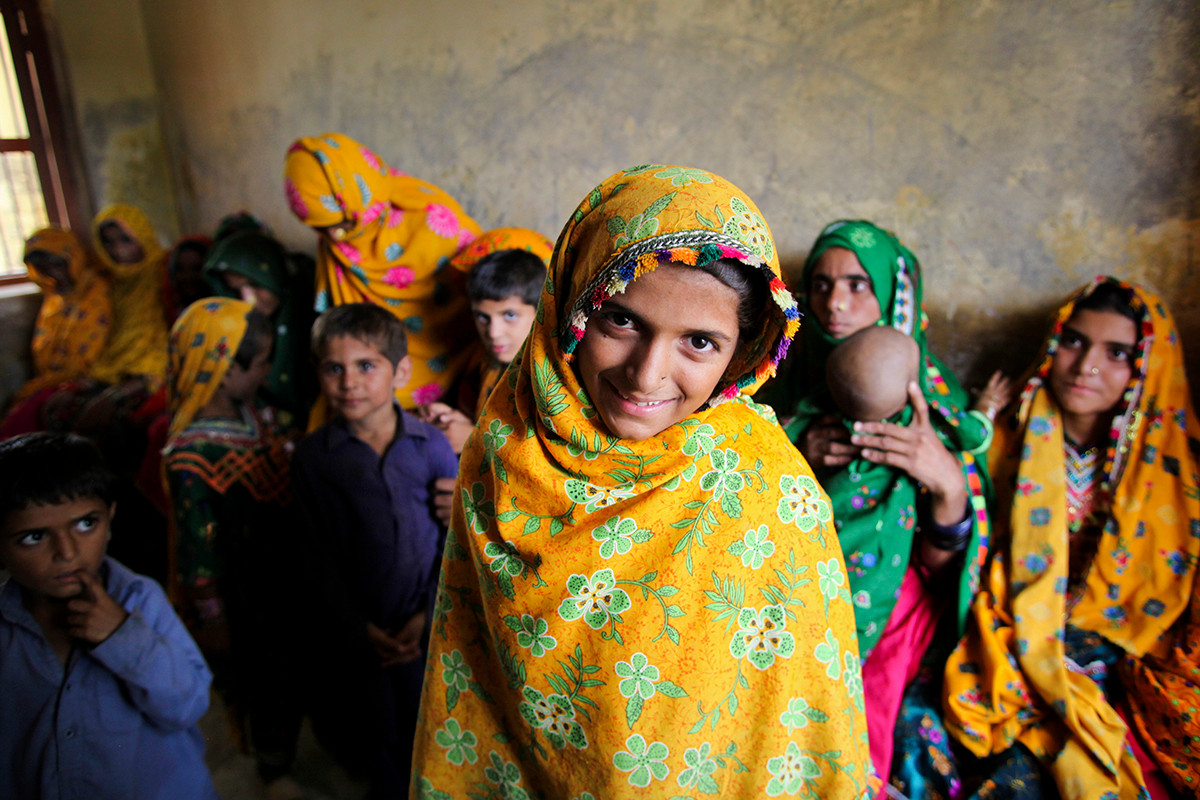 Children at a medical camp for flood affected in Pakistan. Photograph by Asad Zaidi