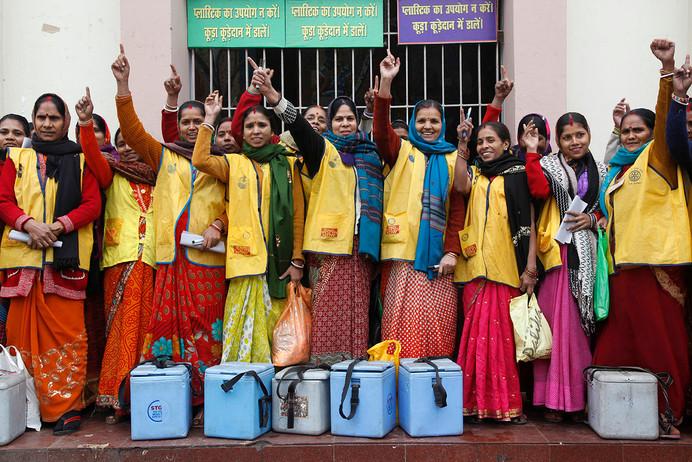 Vaccinators involved in CVT (Continuous Vaccination Team) activity at Patna Railway Station, Bihar, India, 2011.