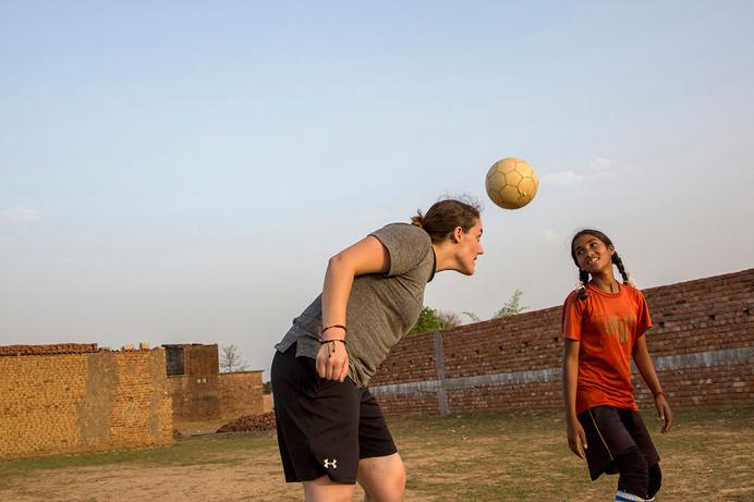 AIF Fellow, Kaylayn Kibbe, at the YUVA football practise in Ranchi, Jharkand, India, 2015.