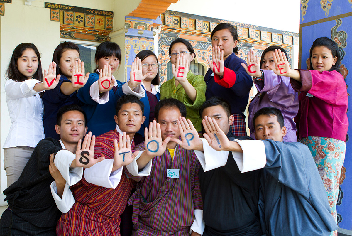 Beneficiaries in Bhutan. Photograph by Andre Jeanpierre Fanthome