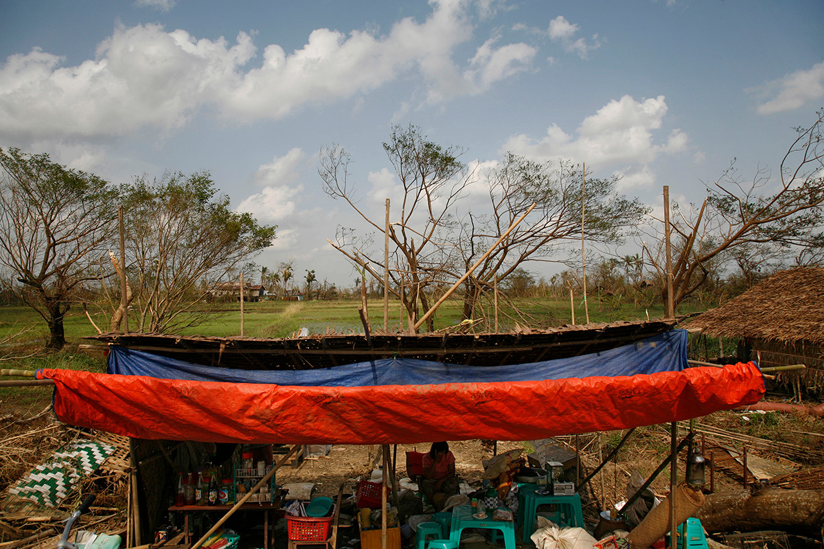 A makeshift shelter at Thar Yar Wae village affected by Cyclone Nargis, on the road to Bogalay, in the Irrawaddy Division of Myanmar (Burma).