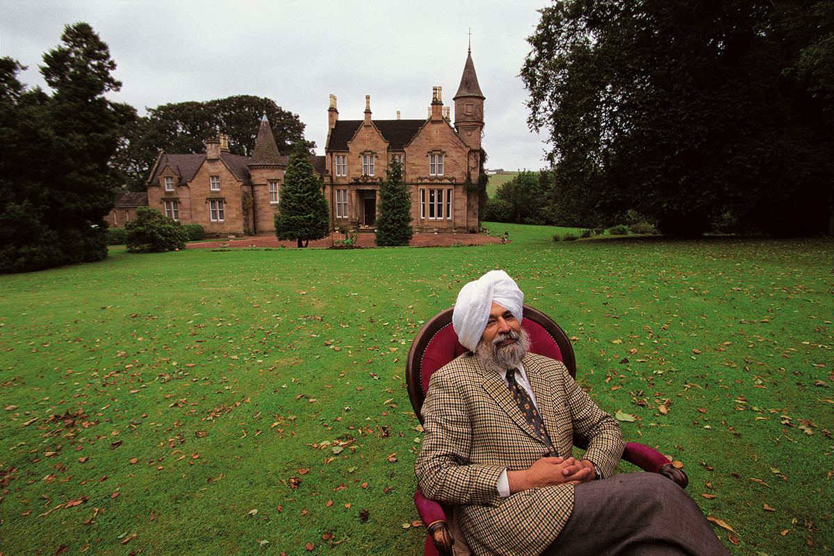 Scotland, United Kingdom. 1996: Sardar Iqbal Singh, the 'Lord of Butley Manor', at his home in Lesmahagow, near Glasgow. This Sikh immigrant  bought the castle and 'acquired' a title.