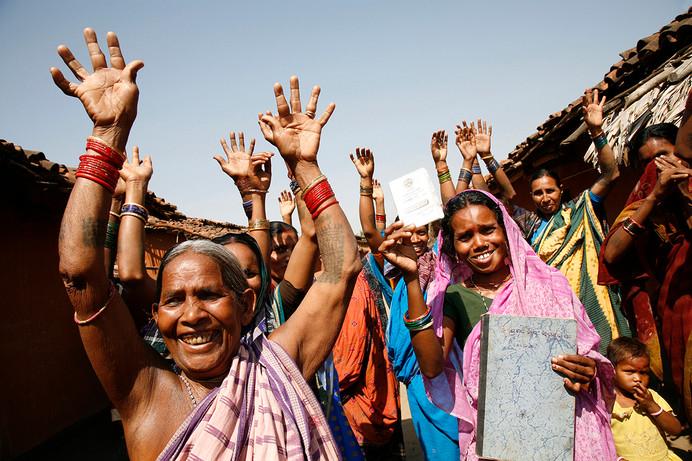 Women of SHG groups at Chiknibahali village, Bolangir district, Orissa, India, 2006.