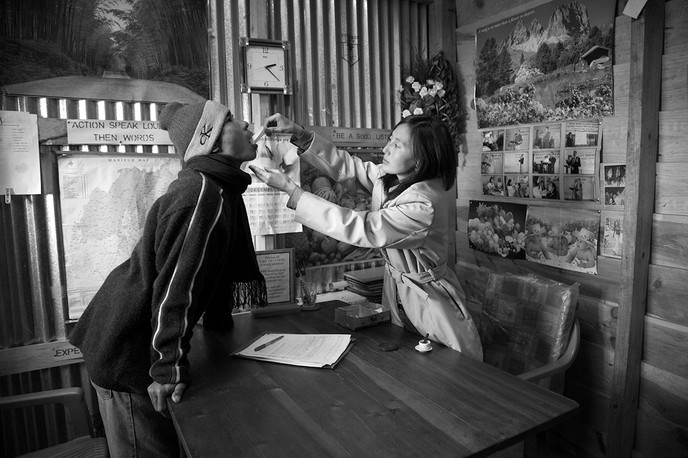 Nurse, Stella Layam, provides Drug Substitution Therapy to a client IDU at the CARE centre in Ukhrul town, Manipur, 2007.
