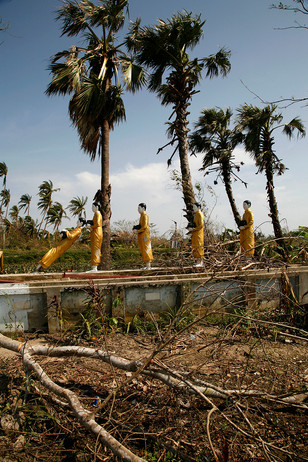 Buddha statues damaged by Cyclone Nargis in a monastery at Hpayapon, on the road to Bogalay, in the Irrawaddy Division of Myanmar (Burma).
