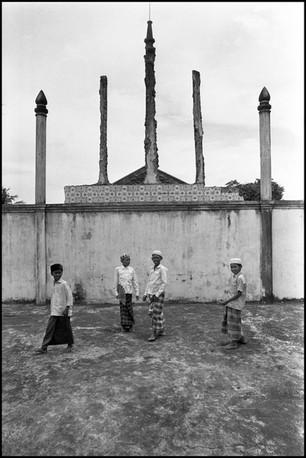 Children of the Cham Muslim community at their mosque in Prek Pra village near Phnom Penh.