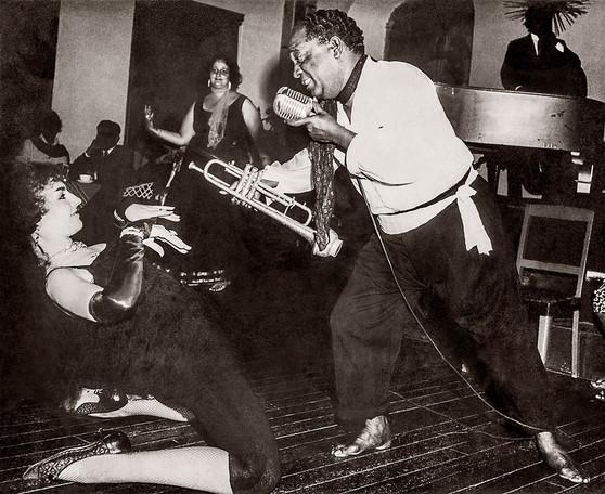 Chic Chocolate performs with cabaret artist Maria Elena at a Blues theme nigh at the Savoy Hotel. Mussoorie, 1964.