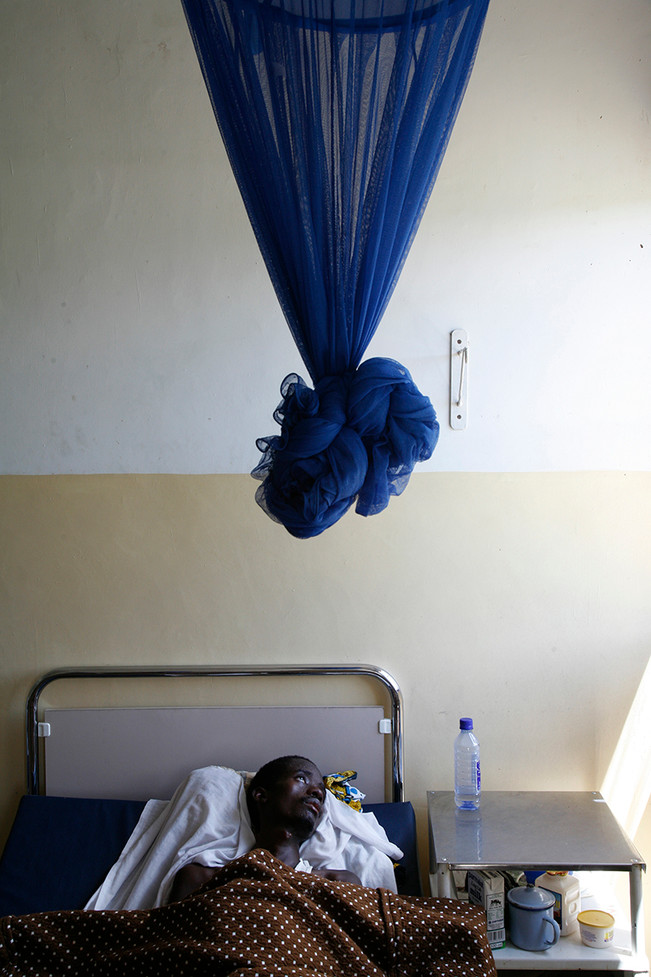 Malaria patient at the Kafue District Hospital, Zambia, 2007.