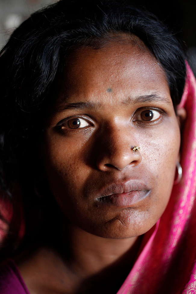 Ratnamal, wife of Laxman Tekam, a farmer from Mangi village who committed suicide.