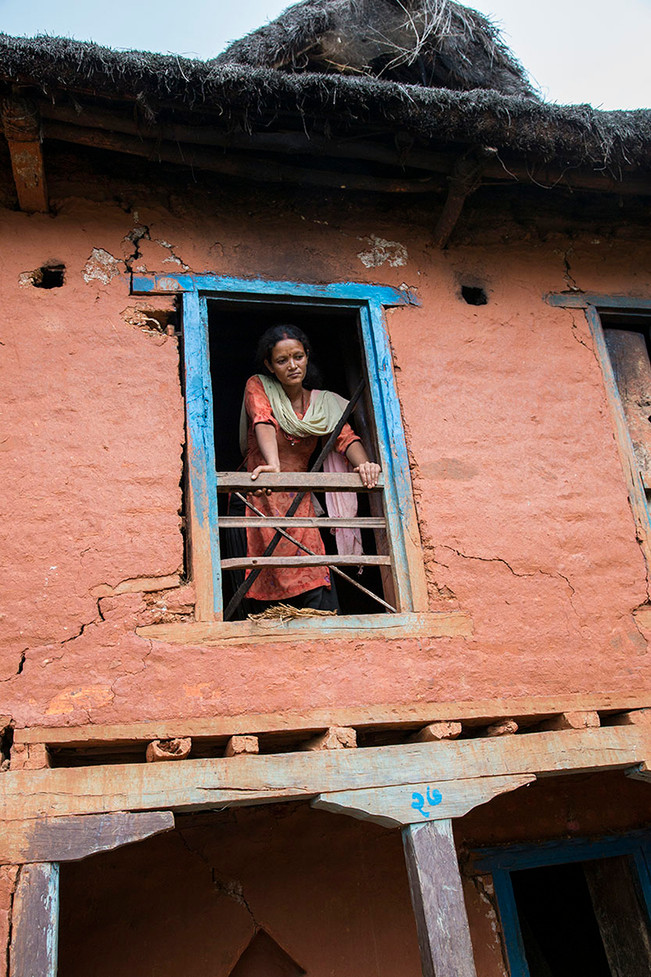 Tanka Kumari at her earthquake damaged home in Sitalapati village, Sindhuli district, Nepal, 2015.
