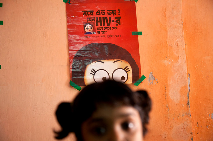 An HIV+ child in Kolkata, India. Photograph by Prashant Panjiar