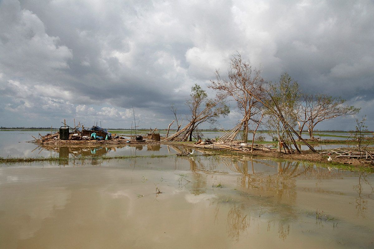 A home destroyed by Cyclone Nargis in a village near Kaw Hmu, in the Yangon Division of Myanmar (Burma).