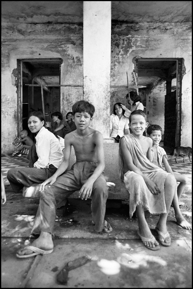 Children of the nine families that live in the ruins of the Preah Than pagoda complex in Phnom Penh.